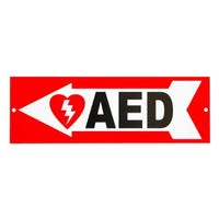 left aed arrow sign
